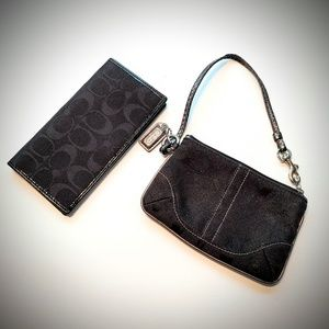 coach signature wristlet and wallet set black